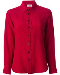Saint Laurent Red Spotted Shirt - Lyst