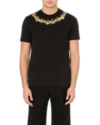Givenchy Gold Crown-neck T-shirt - Lyst