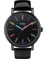 Timex® Women'S Premium Originals Classic Black Patent Leather Strap 38Mm T2N790Ab - Lyst