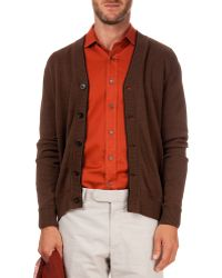Berluti Cardigan With Leather-Placket - Lyst