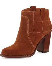 Marc Jacobs Checked Suede Ankle Bootie - Lyst