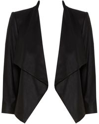 Alice + Olivia Colton Draped Leather Jacket black - Lyst