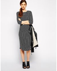 Asos Pencil Dress With Batwing Sleeve In Stripe - Lyst