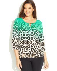 Calvin Klein Plus Size Ombré Animal-Print Keyhole Top - Lyst