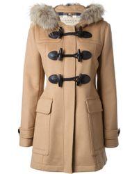 Burberry Brit Fur Trimmed Duffle Coat - Lyst