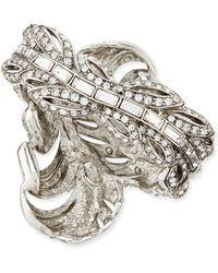 Oscar de la Renta Pave Crystal Feather Cuff - Lyst
