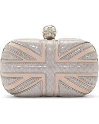 Alexander McQueen Blush Snakeskin Trimmed Britannia Box Clutch - Lyst