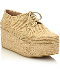 Robert Clergerie | Lace-up Raffia Espadrille Platform Wedge Sneakers | Lyst