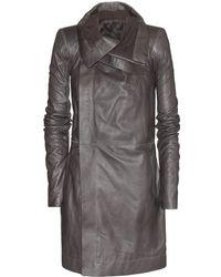 Rick Owens Long Biker Leather Jacket - Lyst