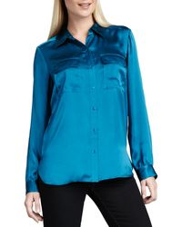 Go Silk Charmeuse Button-front Blouse - Lyst