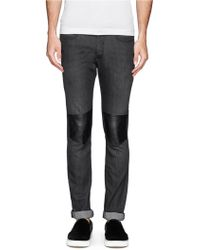 Neil Barrett Faux Leather Knee Patch Skinny Jeans - Lyst