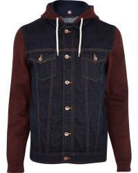 River Island Dark Wash Jersey Sleeve Denim Jacket - Lyst