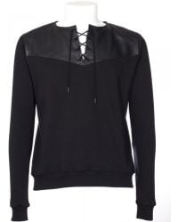 Saint Laurent Black Cotton And Leather Sweatshirt black - Lyst