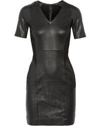 Theory Serto Jersey-Paneled Leather Dress - Lyst