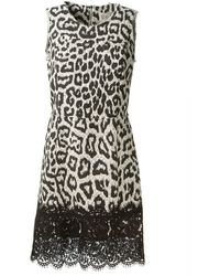 Sea Black and White Leopard Printed Cotton Straight Dress - Lyst