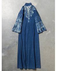 Free People Vintage Denim Printed Caftan - Lyst