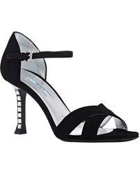 Prada Jeweled-Heel Ankle-Strap Sandals - Lyst