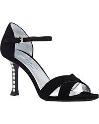 Prada Jeweled-Heel Ankle-Strap Sandals - Lyst