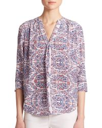 Rebecca Taylor Silk Paisley V-Neck Blouse multicolor - Lyst