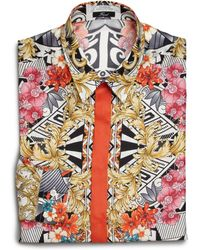 Versace Splatter Print Silk Dress Shirt/Orange - Lyst
