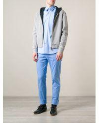 Calvin Klein Gray Perforated Hoodie - Lyst