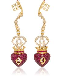 Lydia Courteille - Surrealist Collection Red Sapphire Earrings - Lyst