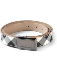 Burberry Checked Logo Belt - Lyst
