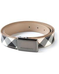 Burberry Checked Logo Belt - Lyst