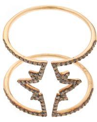 Kismet by Milka - Gold Champagne Diamond Open Star Ring - Lyst