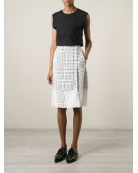 Victoria Beckham Wrap-Style Perforated Skirt - Lyst