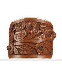 Ralph Lauren Brown Tooledleather Cuff - Lyst