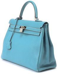 Hermes Preowned Blue Jean Taurillon Clemence Kelly 35 Bag - Lyst