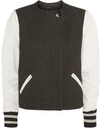 Isabel Marant Zenith Wool-Blend Twill And Leather Jacket - Lyst