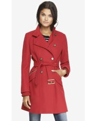 Express Wool Blend Fit And Flare Coat - Lyst