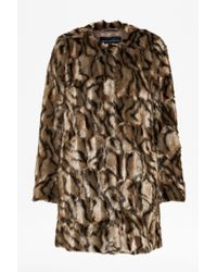 French Connection Tabby Faux Fur Collarless Coat - Lyst