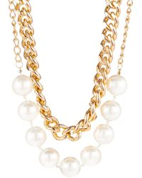 Cara Faux Pearl and Chain Necklace - Lyst