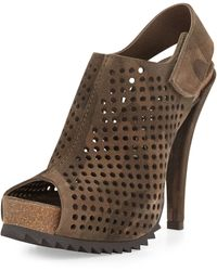 Pedro Garcia Perforated Suede Slingback Bootie Camo Print - Lyst