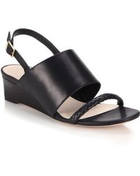 Cole Haan Lise Braided-Strap Leather Wedge Sandals black - Lyst