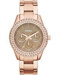 Fossil | Women'S Stella Rose Gold-Tone Stainless Steel Bracelet Watch 37Mm Es3502 | Lyst