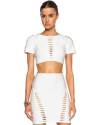 Hervé Léger Julianne Cut Out Viscose-Blend Crop Top - Lyst
