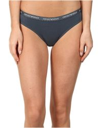 Emporio Armani Cotton Delight Stretch Cotton with New Logo Thong - Lyst