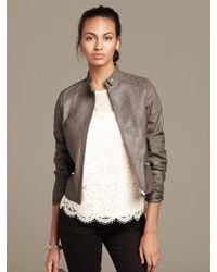 Banana Republic Quilted Taupe Leather Moto Jacket  Taupe - Lyst
