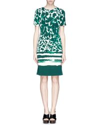 St. John Abstract Print Georgette Dress - Lyst