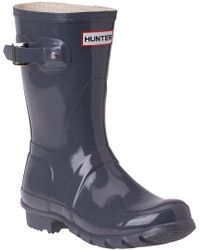 Hunter Original Glossy Short Rain Boot Grey gray - Lyst