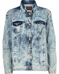 River Island Light Acid Wash Denim Jacket - Lyst