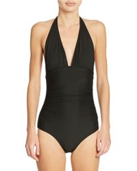 Shoshanna Ruched Halter One-Piece Swimsuit - Lyst
