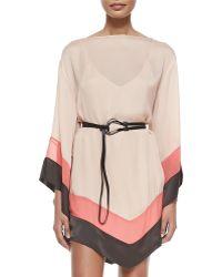 Halston Heritage Colorblocked Caftan Dress With Belt - Lyst