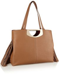 Christian Louboutin Passage Fringed Textured-Leather Tote brown - Lyst