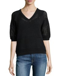 Halston Heritage Perforated Mix-knit Sweater - Lyst