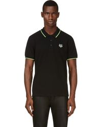 Kenzo Black Embroidered Tiger Patch Polo - Lyst